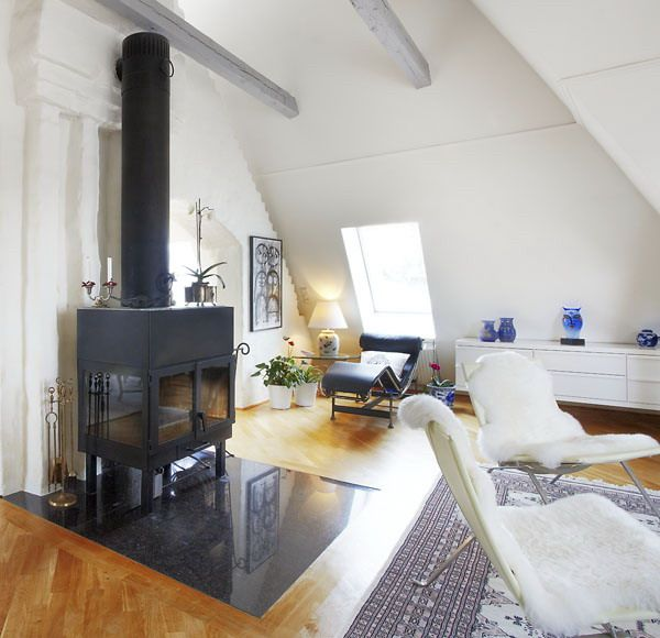Wow a modern wood burner that is reminisant of an old world stove love it for a sun room - i love swedish-homes!!