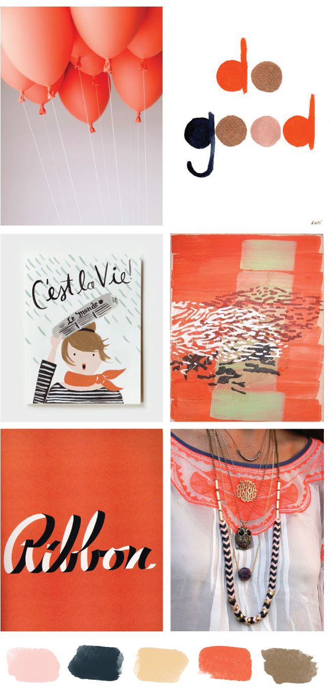 Orange-red black white love color palette