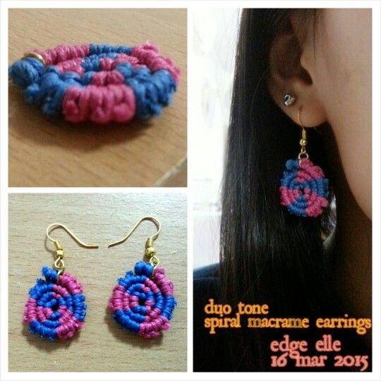 Duo tone spiral macrame earrings