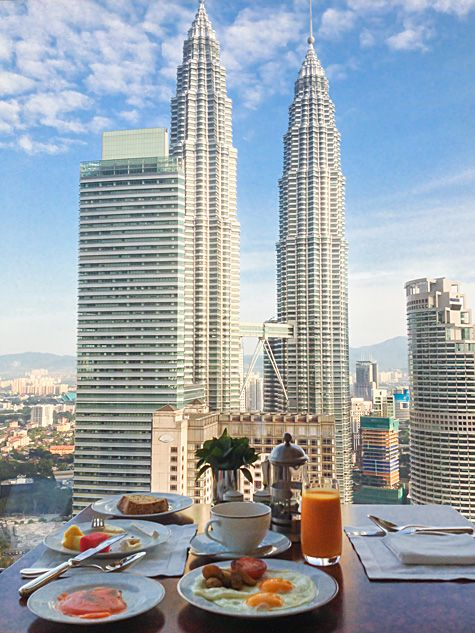 Take in spectacular 360-degree views of the Kuala Lumpur city skyline while dining at THIRTY8 restaurant at Grand Hyatt Kuala Lumpur in Malaysia.
