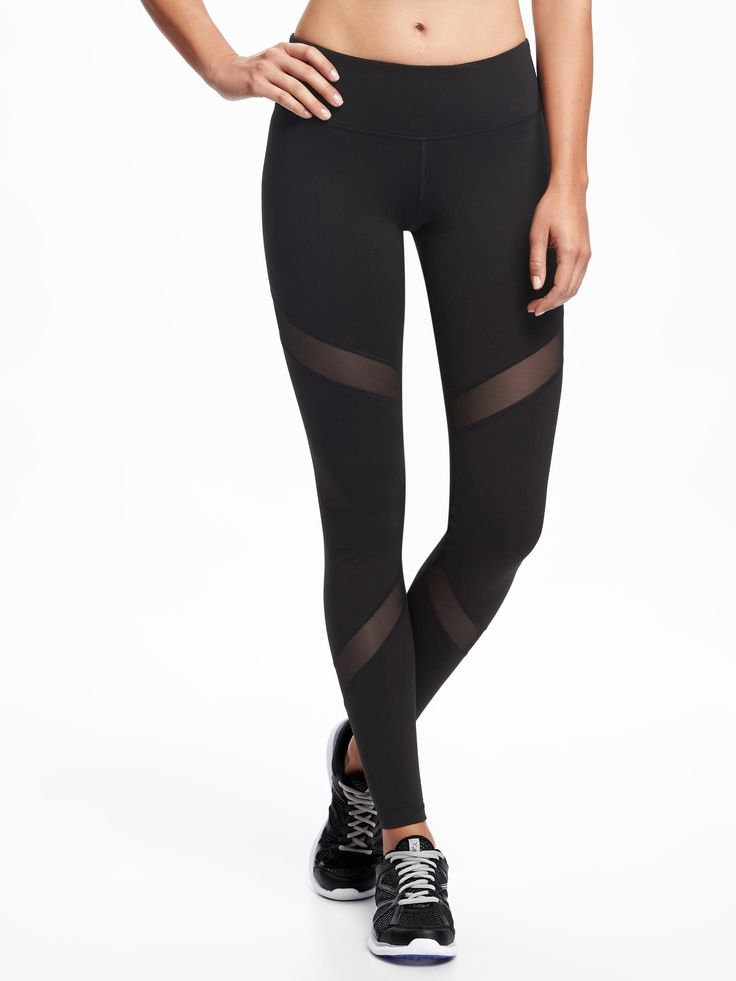 Mesh-Trim Compression Leggings for Women | Old Navy