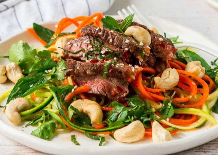 Thai Beef with carrot & zucchini noodles