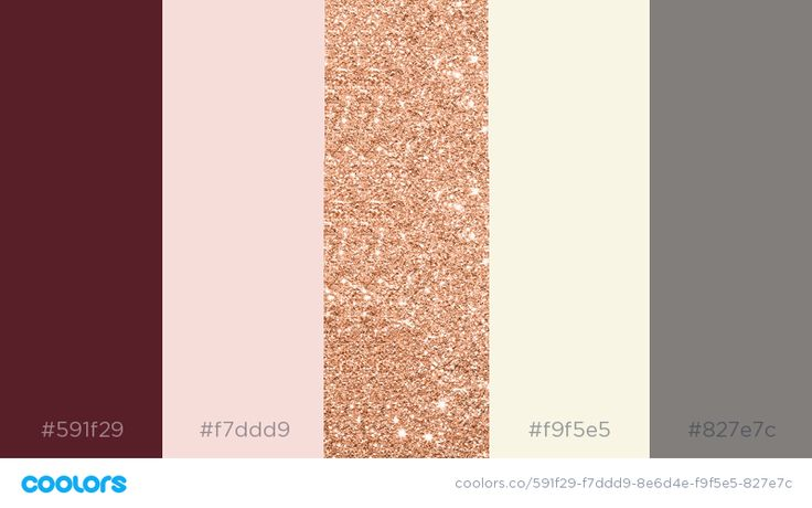 Actual Wedding Color Palette: Marsala, blush rose gold, ivory/cream and gray