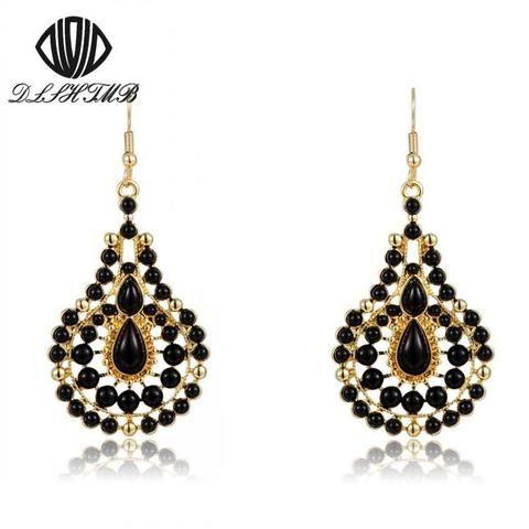 Stunning Vintage 18K Gold Plated Black Pearl Drop Earrings