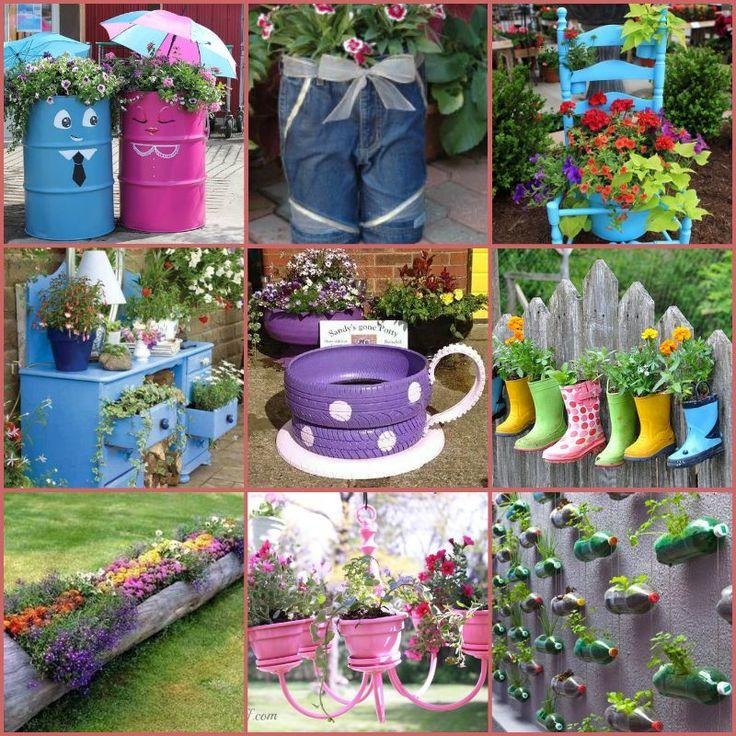 40+ Creativo DIY Garden contenedores e plantadores de materiais reciclados