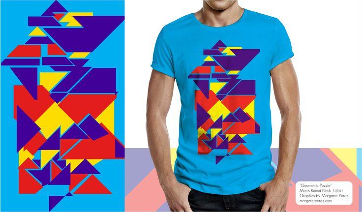 "Men's T-Shirt ""Geometric (Prism) Puzzle"" by Margaret Perez on Men's Round Neck Tee's. Visit my online portfolio: margaretperez.com"