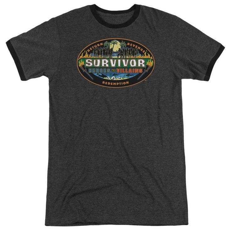Survivor Heroes Vs Villains Charcoal Ringer T-Shirt