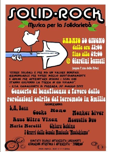 SOLID ROCK FEST @ Giardini Luzzati - Musica di solidarietà: aiutiamo l'Emilia Sabato 30 Giugno 2012 - Ore 17:00: L Emilia Sabato, Aiutiamo L Emilia, June 2012, Ore 17 00, Giardini Luzzati, Eventi Genova, Rock