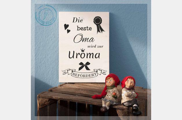 Wanddeko - Holzschild schwanger Ankündigung Großeltern Baby - ein Designerstück von Sommerweg bei DaWanda