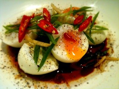 Soft Boiled Eggs with Spring Onions and Ginger  Recipe (from Kylie Kwong:Simple Chinese Cooking)