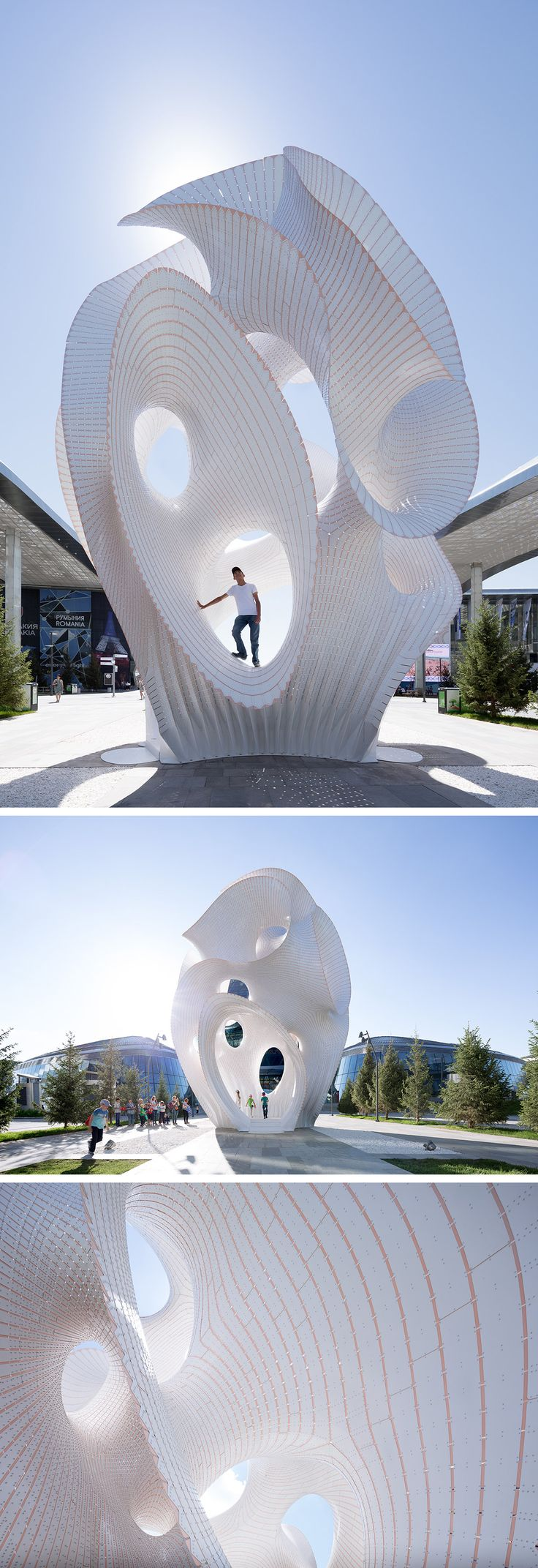 A Towering 4-Story Organic Structure Built From Material as Thin as a Coin