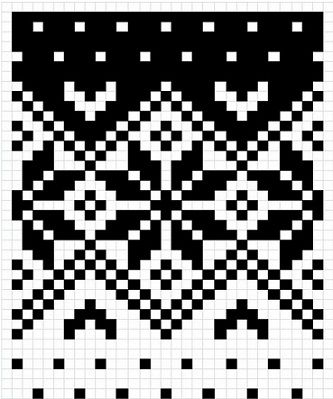 Snowflake chart 14 Sts wide repeat. Good to use for double knitting especially. Good transition of background colors