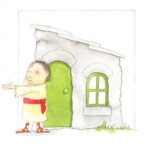 """(Het huis op de rots - prent 4:) Eindelijk is het huis klaar. """"Precies op tijd,"""" zegt hij. """"Ik geloof dat het gaat regenen."""""""