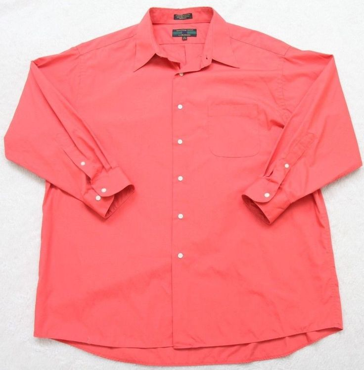 Red Dress Shirt 17-17.5 32/33 Solid Long Sleeve Men's Alexander Julian Colours #AlexanderJulianColours #dressshirt
