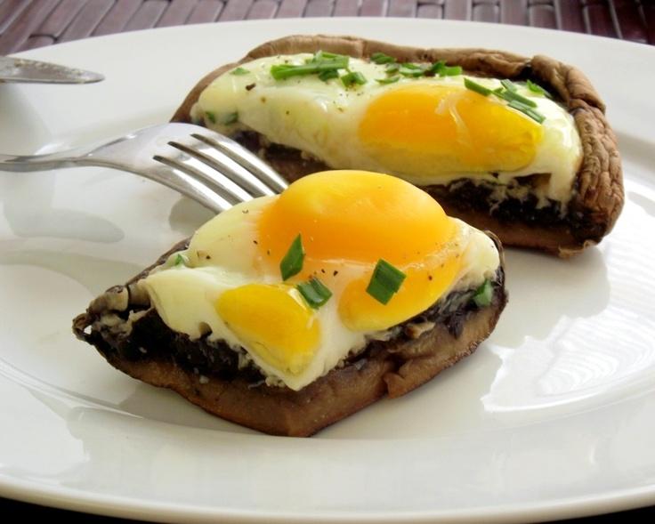 Well, Baked Eggs, Portabella Mushrooms, Girls Eating, Portabella Eggs ...