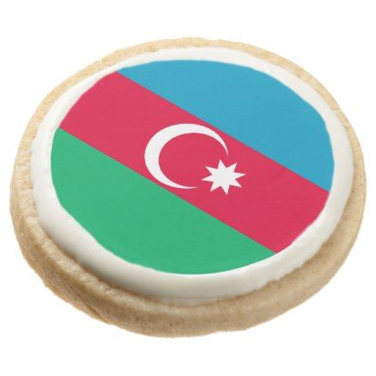 #Azerbaijan Flag Round Shortbread Cookie - #country gifts style diy gift ideas