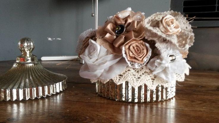 Bouquet de fleurs tissu vintage fait main : Accessoires de maison par a-fleur-2-pots