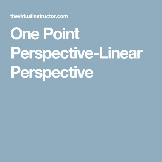 One Point Perspective-Linear Perspective