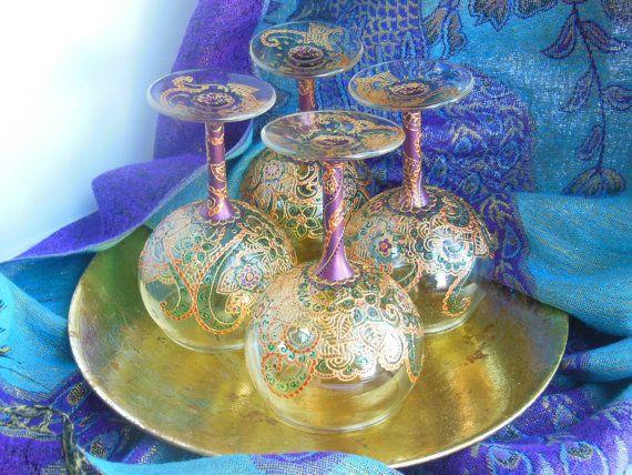Inspired Hand Wine   Glass Henna Peacock   Painted janoski sale