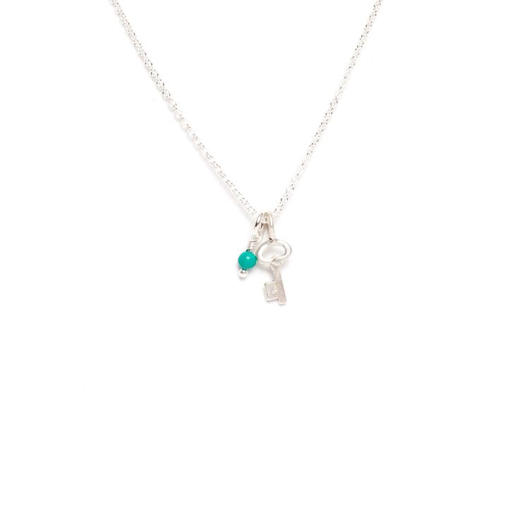 Key Sterling Silver Pendant with Gemstone Necklace by Marmalade Design