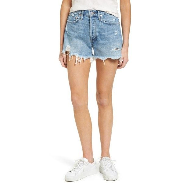 Women's Agolde Parker Distressed Denim Shorts ($128) ❤ liked on Polyvore featuring shorts, swapmeet, destroyed denim shorts, jean shorts, distressed high waisted shorts, high waisted ripped shorts and ripped jean shorts