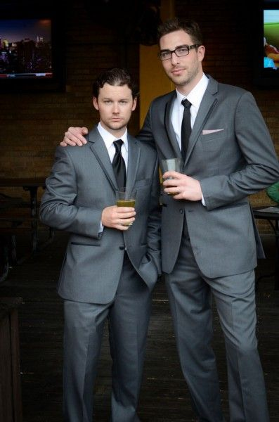 Sharp Steel Gray Men's Vera Wang Tuxedos | Baby Pink & Turquoise Wedding In Austin Texas | Photograph by Click Chick Images  http://www.storyboardwedding.com/modern-come-vintage-austin-texas-wedding-in-baby-pink-turquoise/