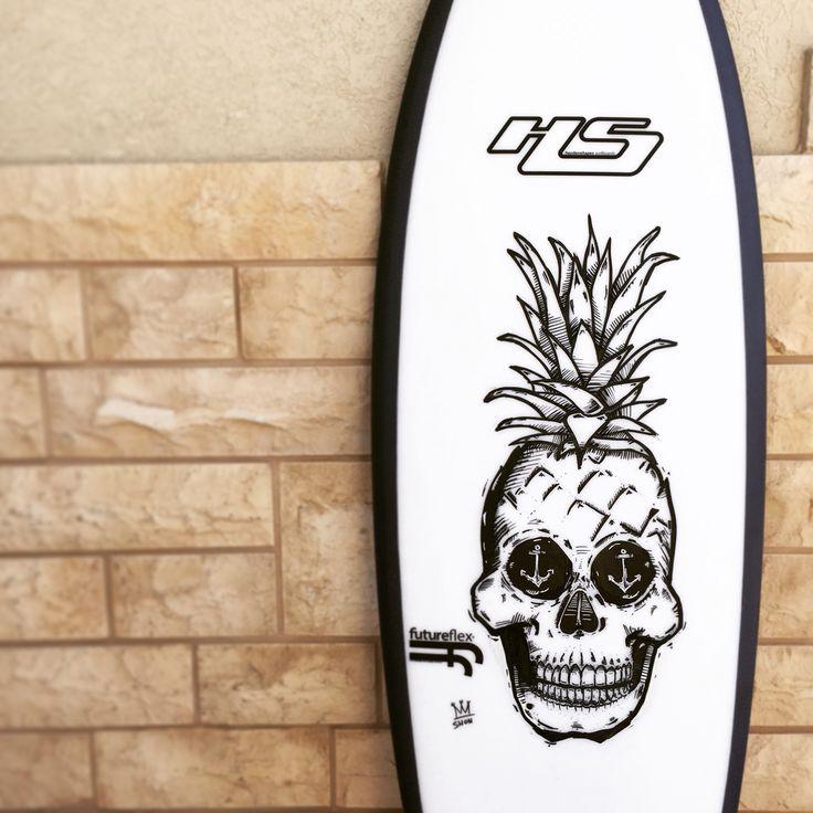 Pineapple skull  #pineappleskull #pineapple #skull #boardart #surfboard