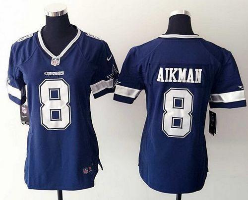 ... Nike Cowboys 8 Troy Aikman Ware Navy Blue Team Color Womens Stitched NFL  Elite Jersey ... 4e4011c07