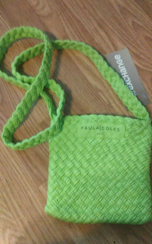 Paula Coles Weave Cross-Body 11x11 lime green Handbag Purse Hand-Made Jersey nwt in Jewelry & Watches, Fashion Jewelry, Other Fashion Jewelry | eBay
