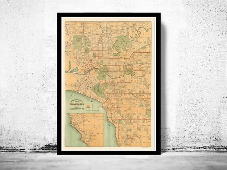 Vintage Map of Melbourne City 1913 , Australia OceaniaPlan Melbourne and suburbsThis is a reprodution of an highly detailed map.The Map is approximately 23 x 33 inches.It has an extra white border 0,2.The map is printed on fine matte museum archiv...