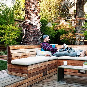 benches provide concealed storage.  How to design an entertainer's yard | Hiding in plain sight | Sunset.com
