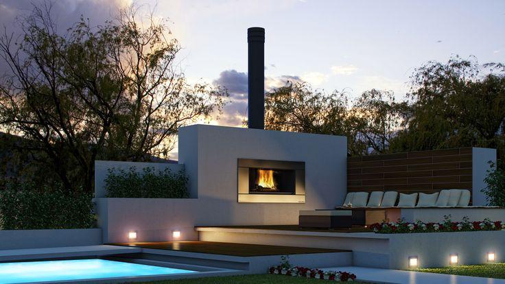 Escea's outdoor cooking wood fireplace