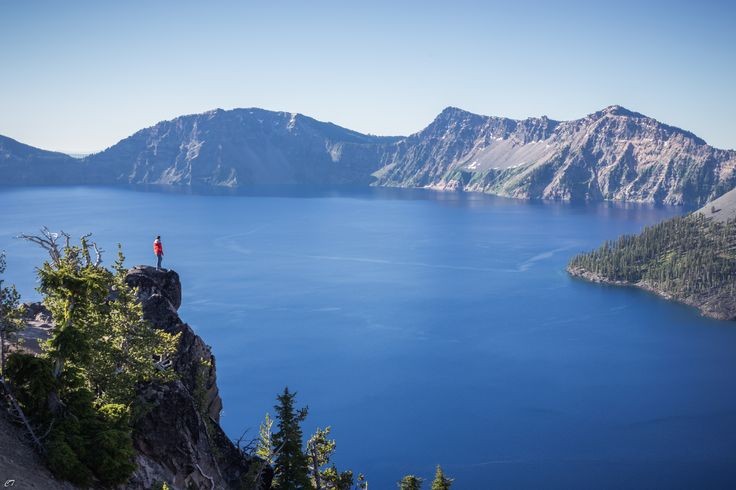 Enjoying the view at Crater Lake National Park in Oregon, USA