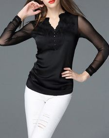 Black Embroidered Pierced Long Sleeve Blouse