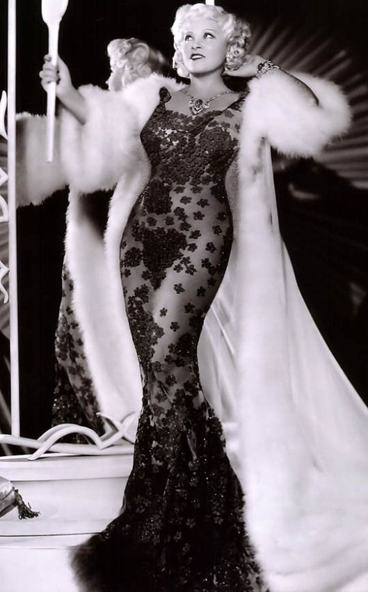 Vintage Glamour, Mae West In A Black Lace Gown. Now We Know Where Cher Got  Her Style.