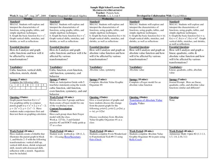 Sample Elementary Lesson Plan Template Printable Lesson Plan - Daily lesson plan template high school