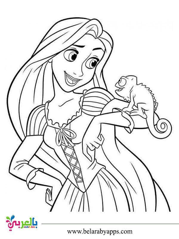 رسومات اميرات ديزني للتلوين صور تلوين بنات للطباعة بالعربي نتعلم Rapunzel Coloring Pages Tangled Coloring Pages Princess Coloring Pages