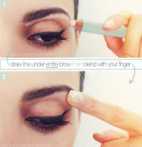 Beauty | Draw line under entire brow then blend with your finger.
