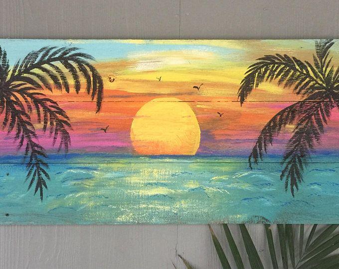 Beach Palm Trees Sunset Custom Sign 43x16 Large Palm Trees Etsy Palm Trees Painting Beach Canvas Paintings Beach Mural