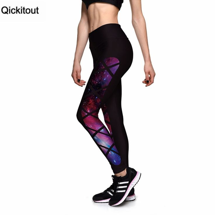 Leggings Womens Leggings For Train Fitness Black Grid Star Galaxy High waist Elastic leggins plus size 1