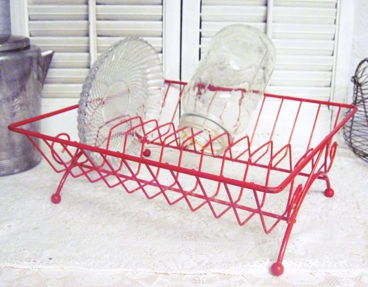 Excited to share the latest addition to my #etsy shop: Vintage Dish Drying Rack - Red Metal Dish Drainer - RV Decor - Rustic Kitchen Decor - Photo Prop - Organization