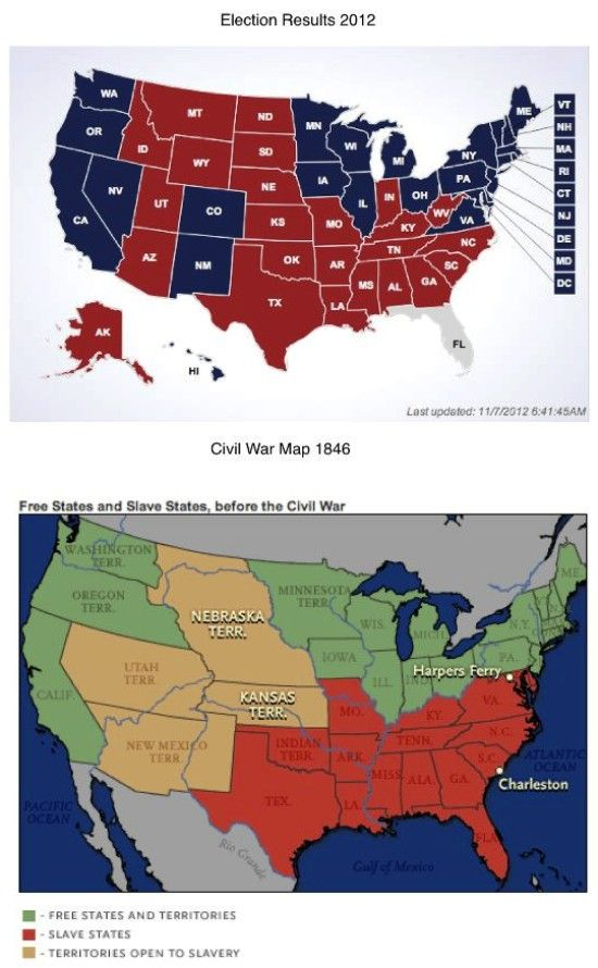 2012 Election Results 1846 Civil War Map Free States Slave States Before The Civil War