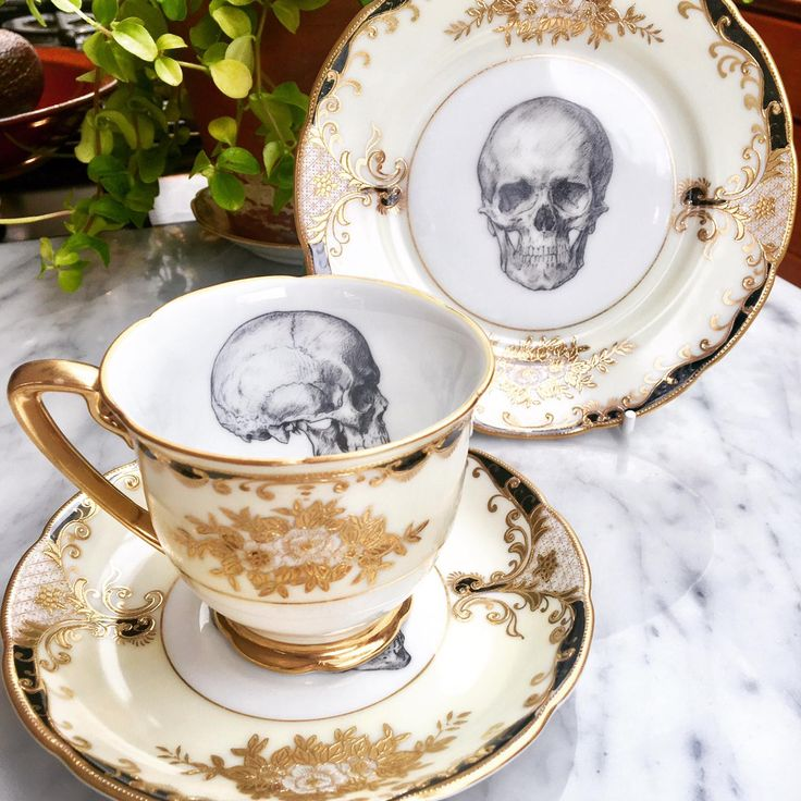 UPCYCLED VINTAGE GOTHIC SKULL TEACUP AND SAUCER £38.00