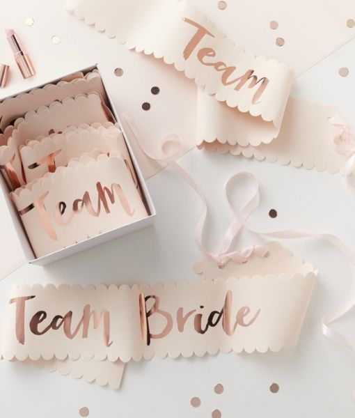 When you have blush and rose gold squad goals! Now all the bride tribe can get in on the prettiness. These gorgeous blush and rose gold Team Bride sashes are a perfect match to our Bride to be and Bridesmaid sash .