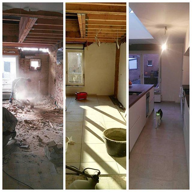 Begin november - begin december - begin januari. De poes met de gekke ogen zegt dat het goed is geweest. #renovations #postrenovations #kitchenrenovations #kitchenisland #remodeling #lentimhouse