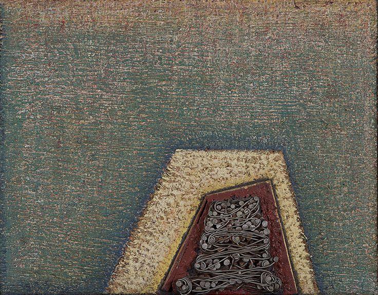 Mariano Cornejo Corte de raiz, 1995 Técnica mixta sobre madera, 44x53x8 cm