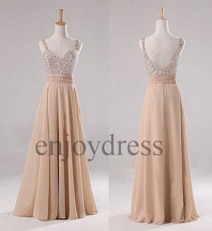 Custom Champagne Beaded Long Prom Dresses Formal Evening Gowns Wedding Party Bridesmaid