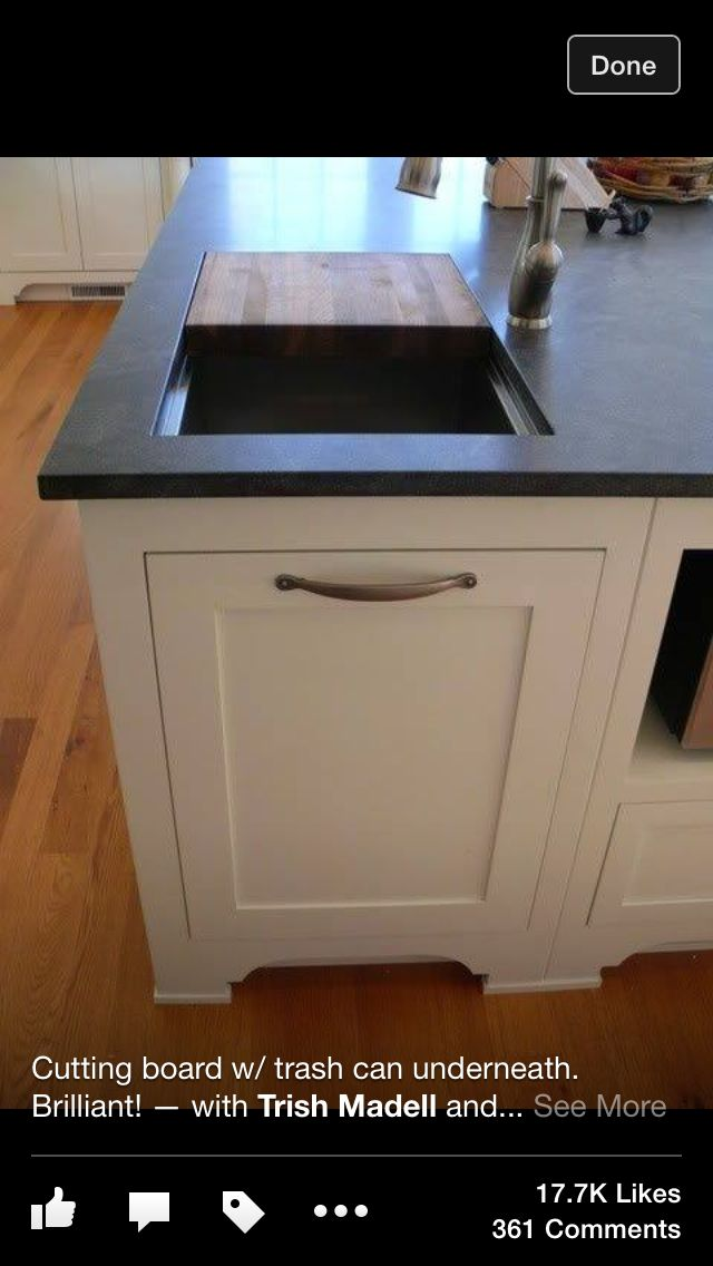 .cutting board / trash bin - needs cover btwn trash space and bottom of cutting bd.