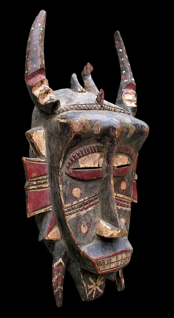 "Africa | ""Kpelie"" mask from the Senufo of the Ivory Coast. 