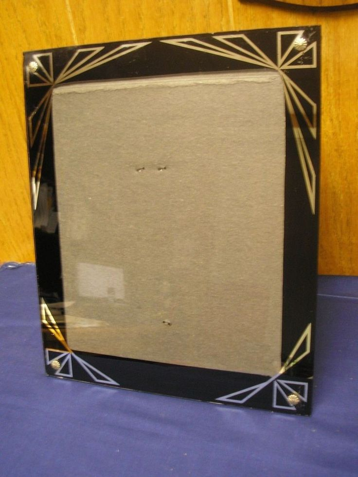 Vintage Glass Art Deco Reverse Painted Picture Frame Black